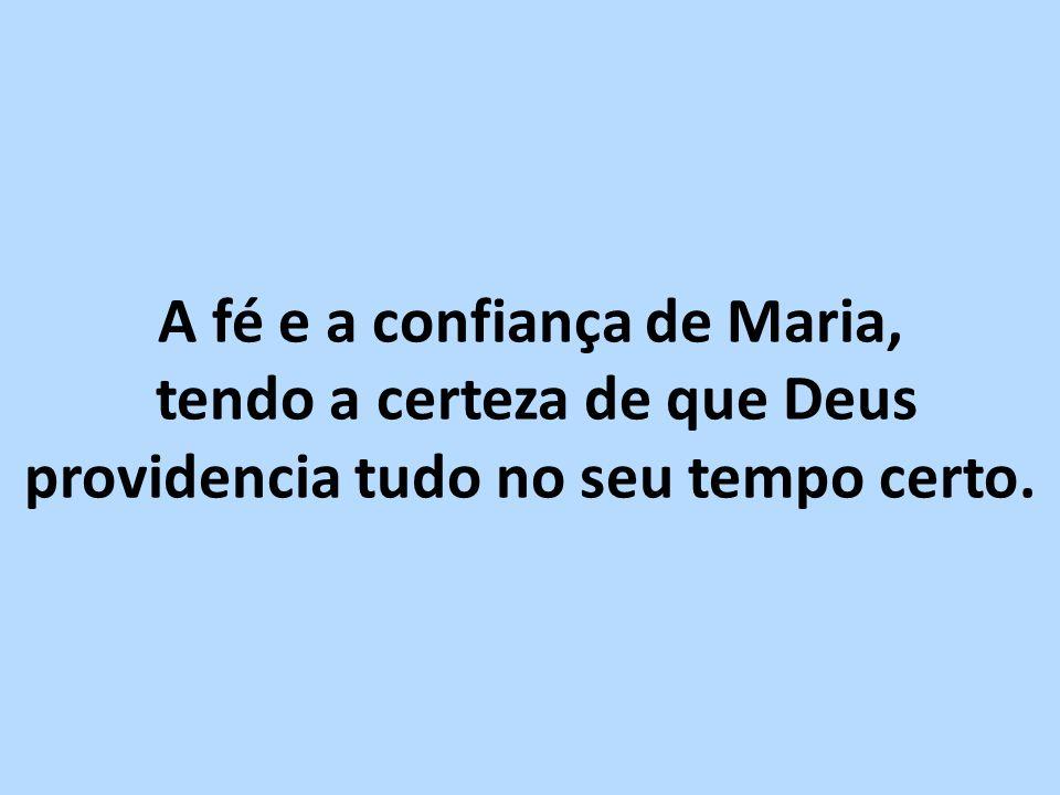 A fé e a confiança de Maria, tendo a certeza de que Deus providencia tudo no seu tempo certo.