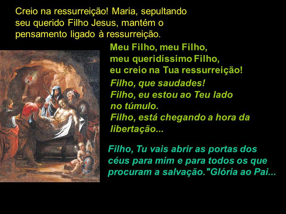Creio na ressurreição! Maria, sepultando seu querido Filho Jesus, mantém o pensamento ligado à ressurreição.