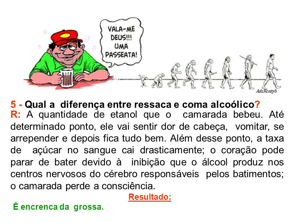 5 - Qual a diferença entre ressaca e coma alcoólico