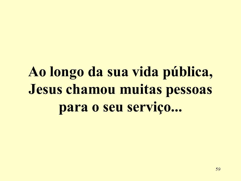 Ao longo da sua vida pública, Jesus chamou muitas pessoas para o seu serviço...