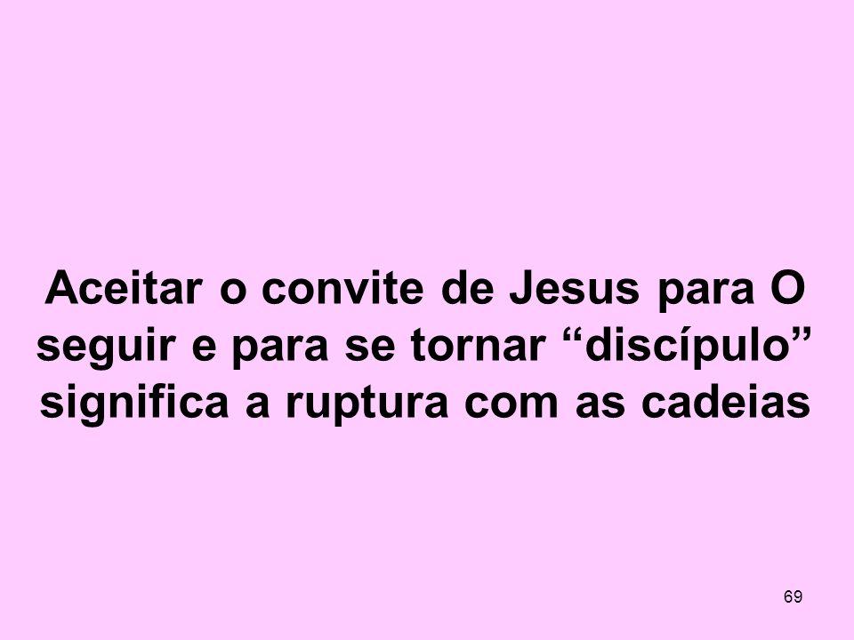 Aceitar o convite de Jesus para O seguir e para se tornar discípulo significa a ruptura com as cadeias