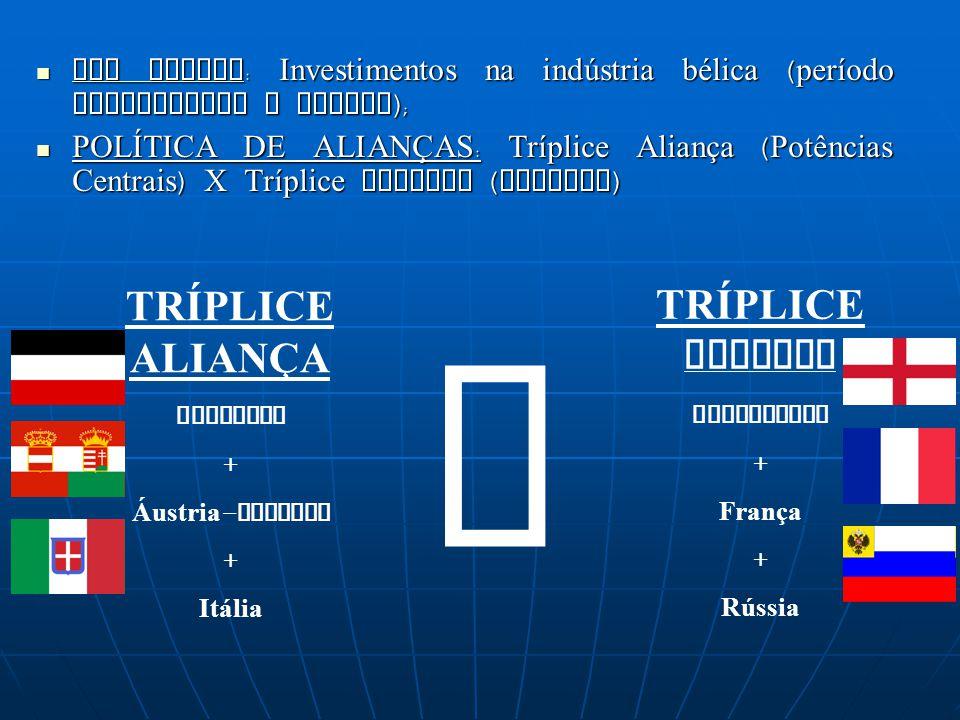 X TRÍPLICE ALIANÇA TRÍPLICE ENTENTE