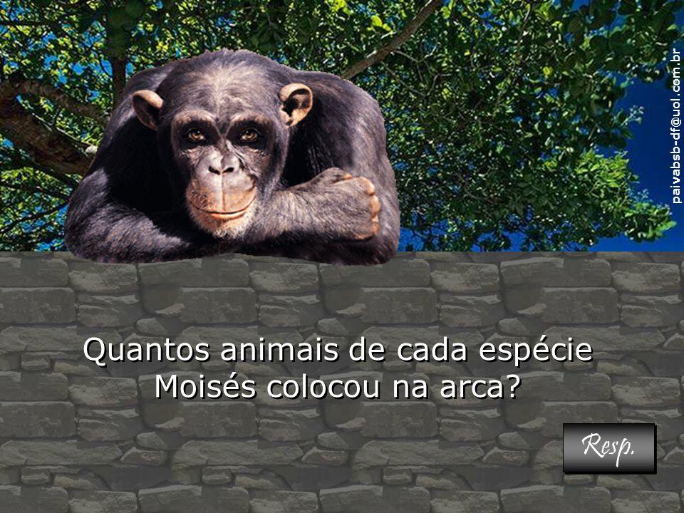 Quantos animais de cada espécie Moisés colocou na arca