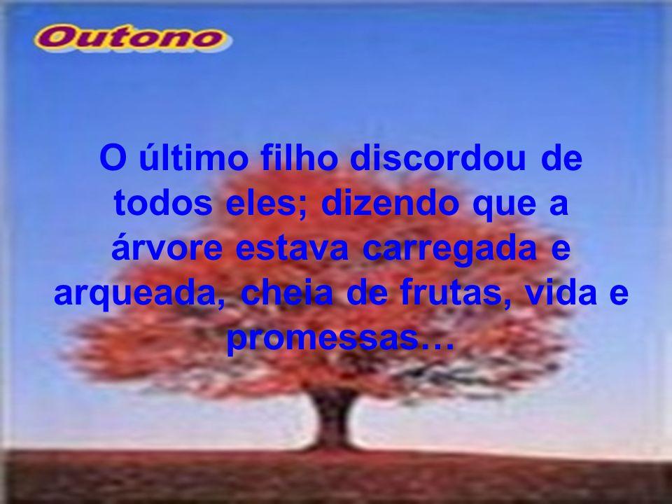 O último filho discordou de todos eles; dizendo que a árvore estava carregada e arqueada, cheia de frutas, vida e promessas…