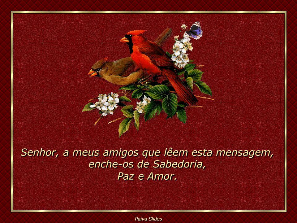Senhor, a meus amigos que lêem esta mensagem, enche-os de Sabedoria, Paz e Amor.