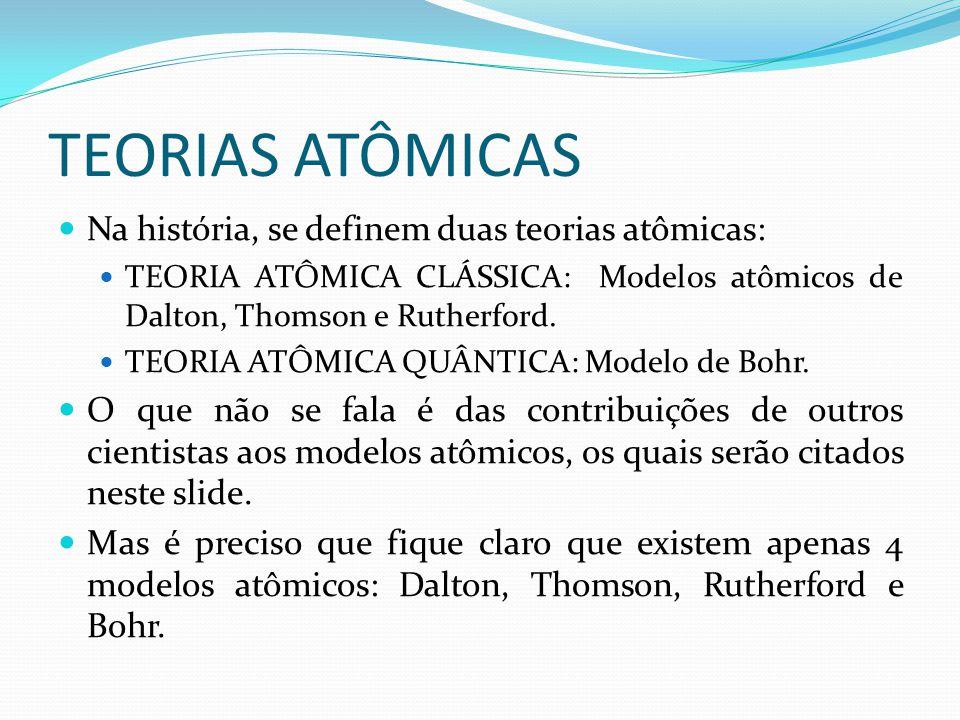 TEORIAS ATÔMICAS Na história, se definem duas teorias atômicas:
