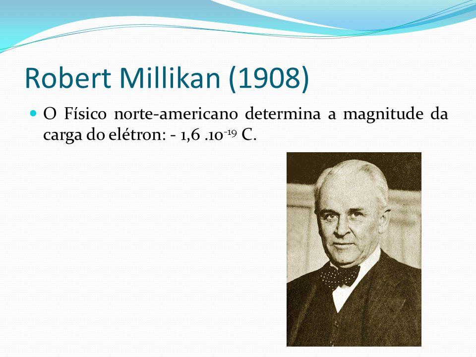 Robert Millikan (1908) O Físico norte-americano determina a magnitude da carga do elétron: - 1,6 .10-19 C.