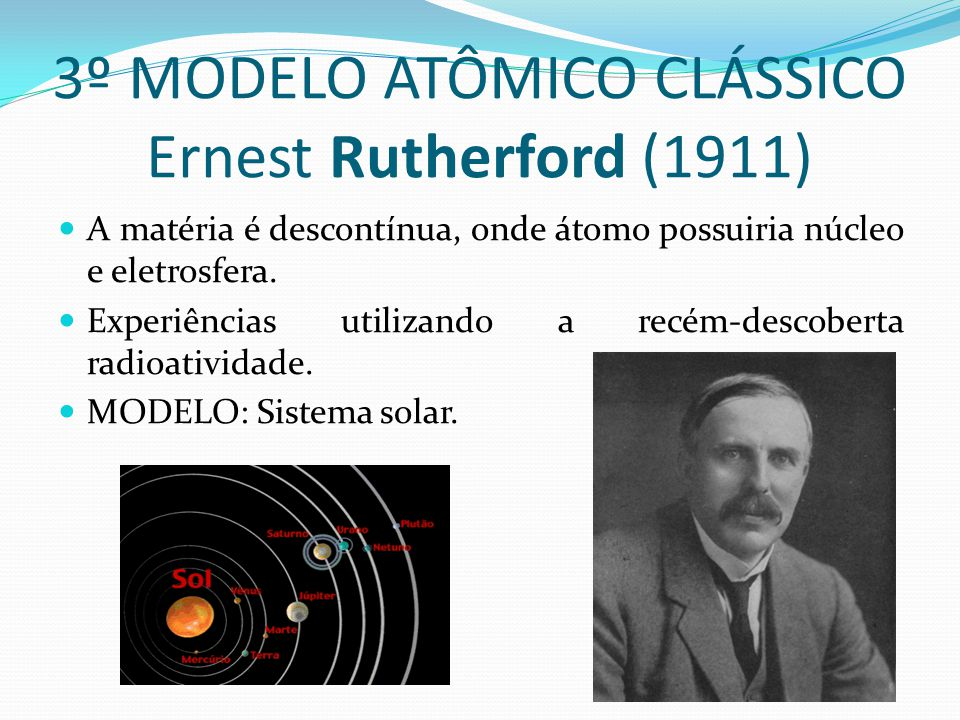 3º MODELO ATÔMICO CLÁSSICO Ernest Rutherford (1911)