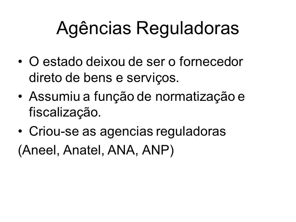 Agências Reguladoras O estado deixou de ser o fornecedor direto de bens e serviços. Assumiu a função de normatização e fiscalização.