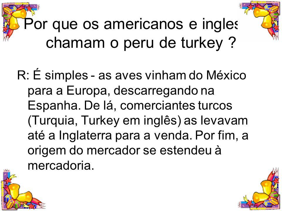Por que os americanos e ingleses chamam o peru de turkey