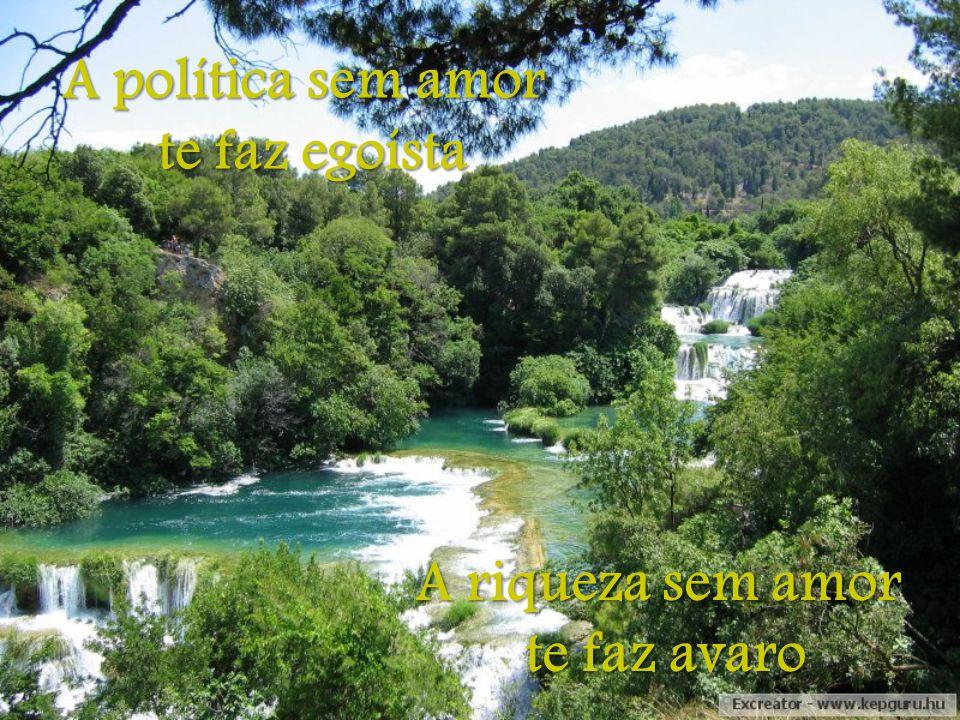 A política sem amor te faz egoísta A riqueza sem amor te faz avaro