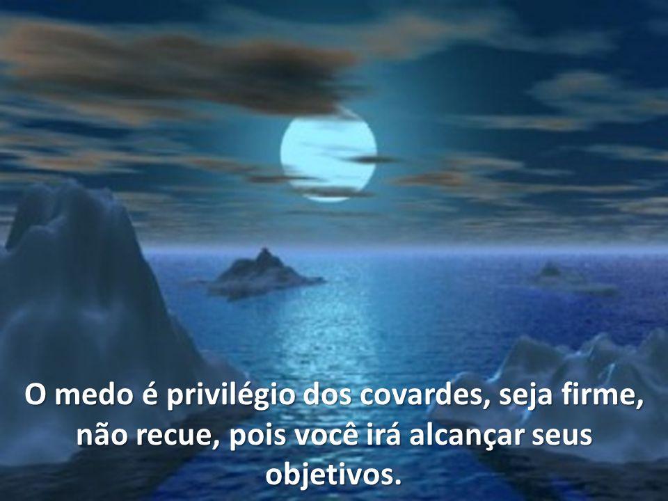 O medo é privilégio dos covardes, seja firme, não recue, pois você irá alcançar seus objetivos.