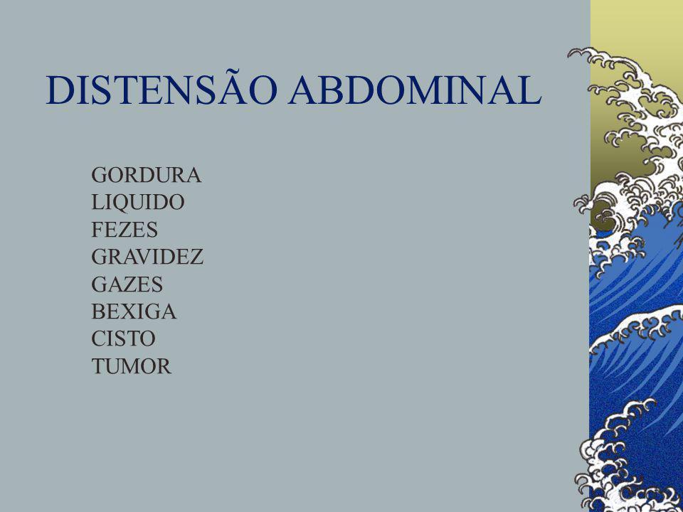 DISTENSÃO ABDOMINAL GORDURA LIQUIDO FEZES GRAVIDEZ GAZES BEXIGA CISTO