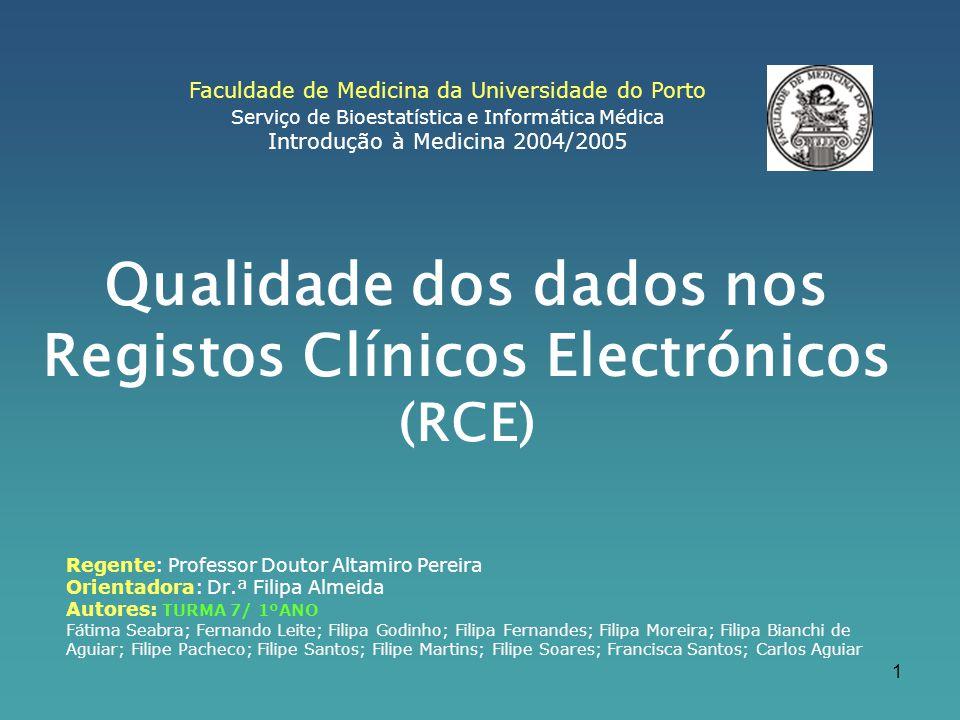Qualidade dos dados nos Registos Clínicos Electrónicos (RCE)