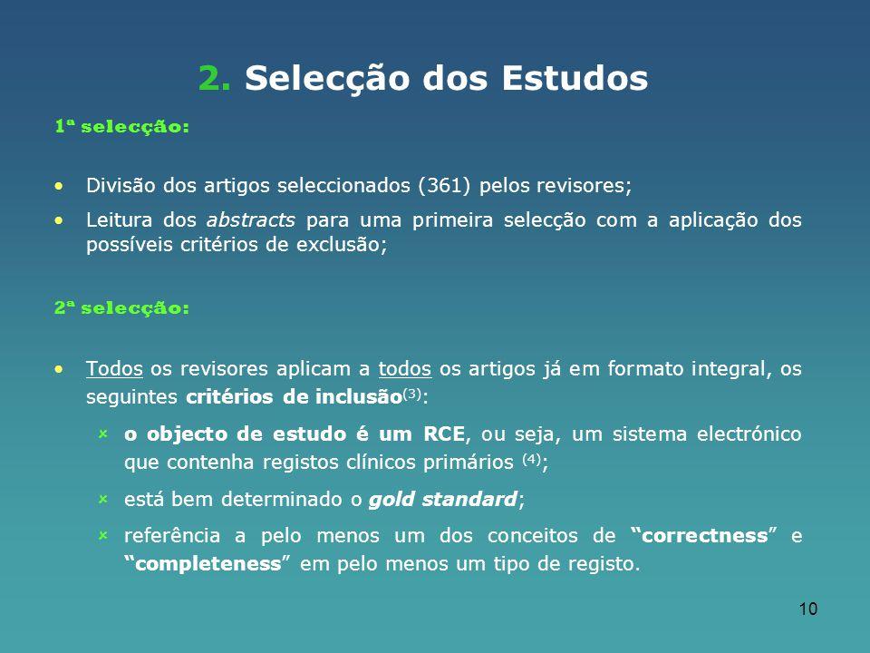 2. Selecção dos Estudos 1ª selecção: