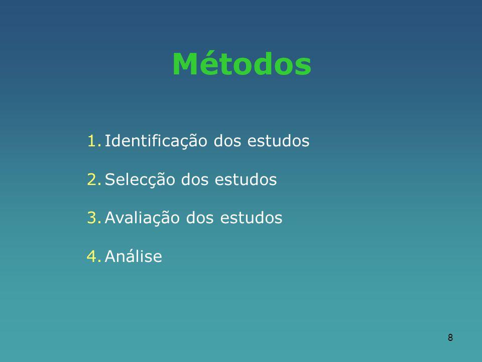 Métodos Identificação dos estudos Selecção dos estudos