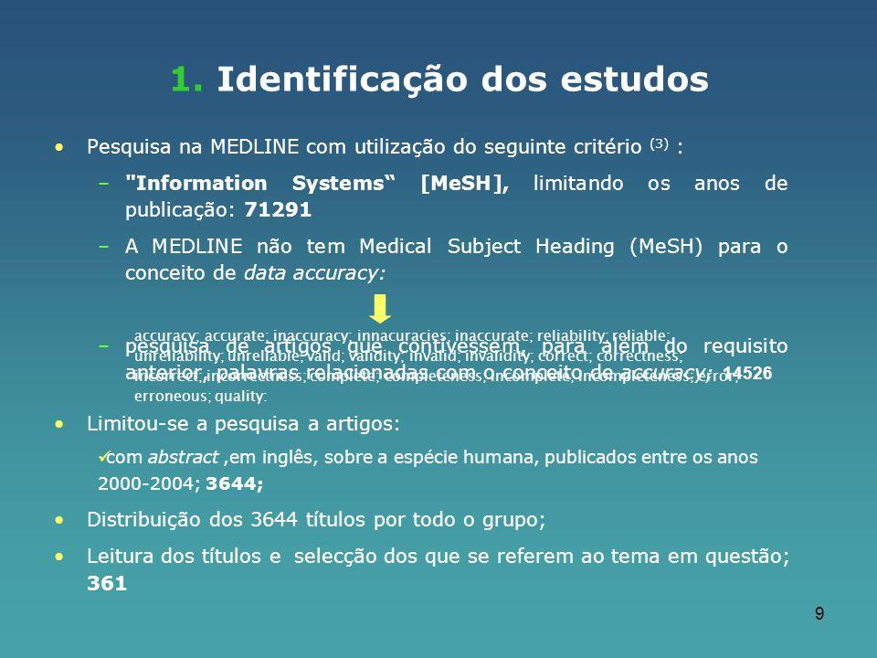 1. Identificação dos estudos