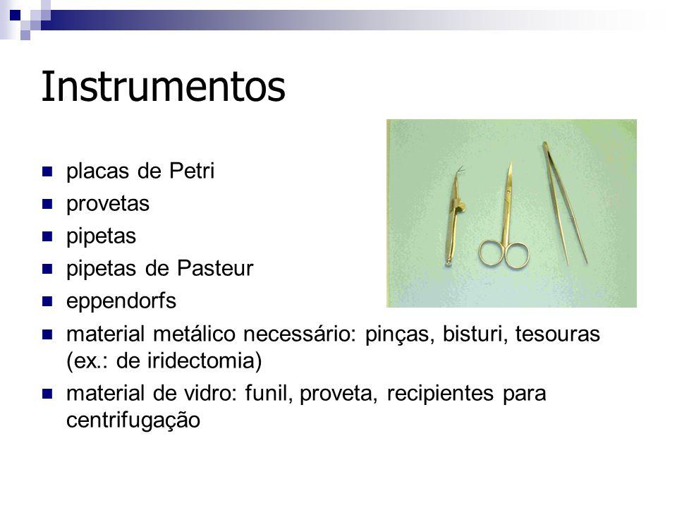 Instrumentos placas de Petri provetas pipetas pipetas de Pasteur