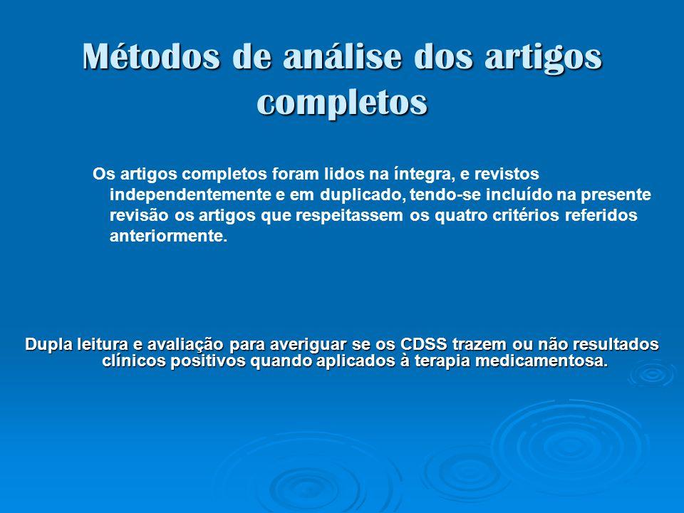 Métodos de análise dos artigos completos