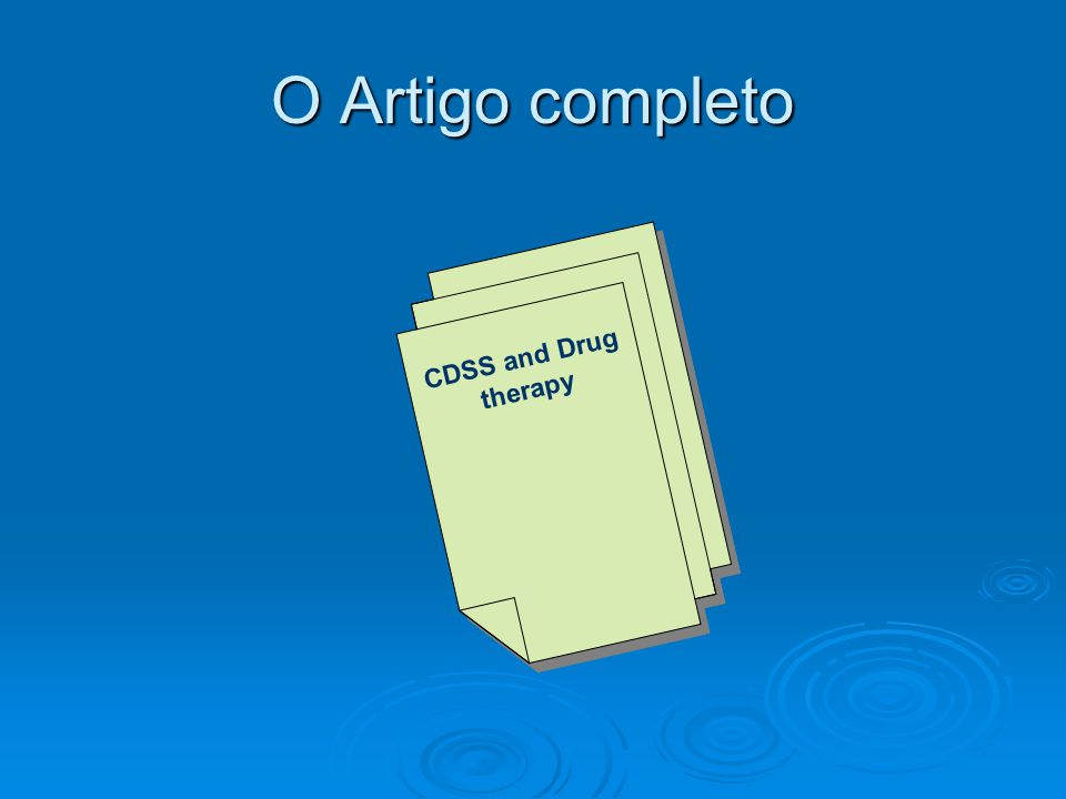 O Artigo completo CDSS and Drug therapy