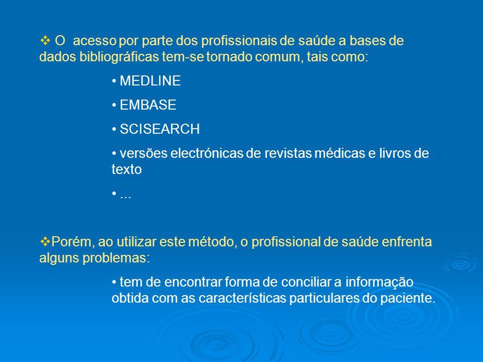 O acesso por parte dos profissionais de saúde a bases de dados bibliográficas tem-se tornado comum, tais como: