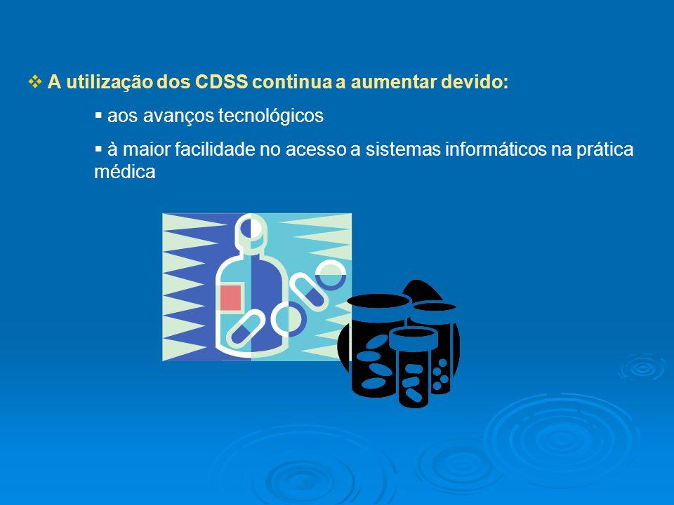A utilização dos CDSS continua a aumentar devido: