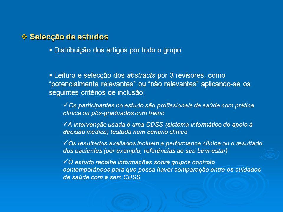 Selecção de estudos Distribuição dos artigos por todo o grupo