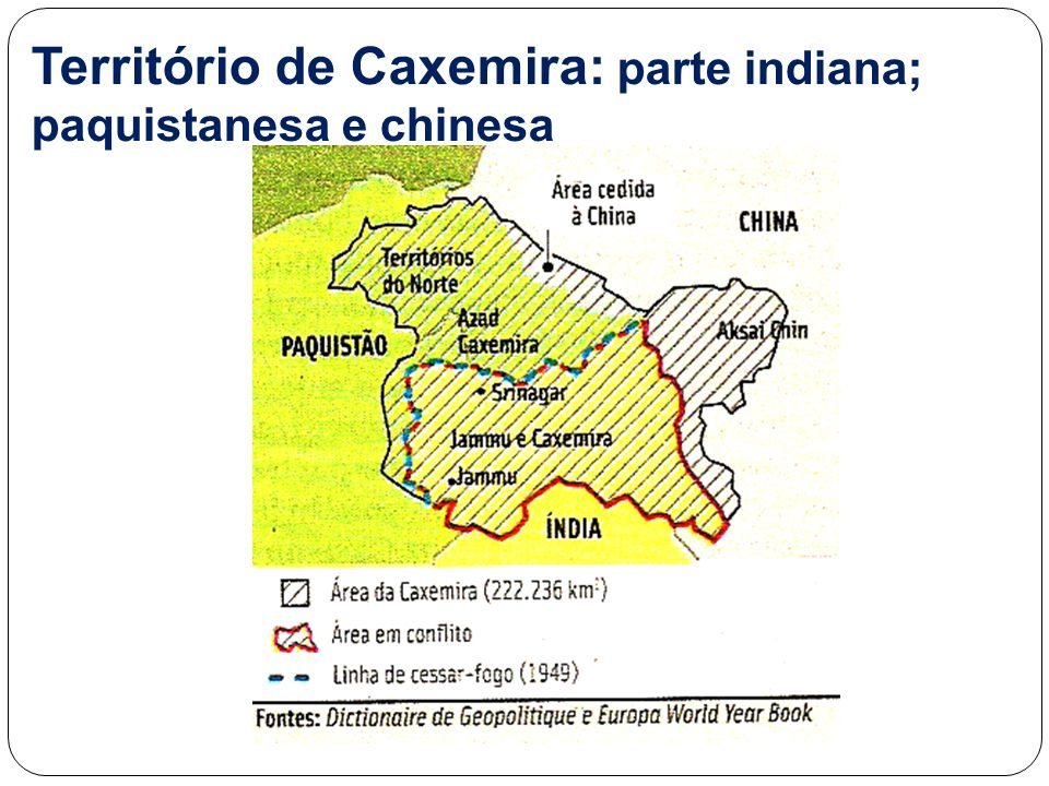 Território de Caxemira: parte indiana; paquistanesa e chinesa