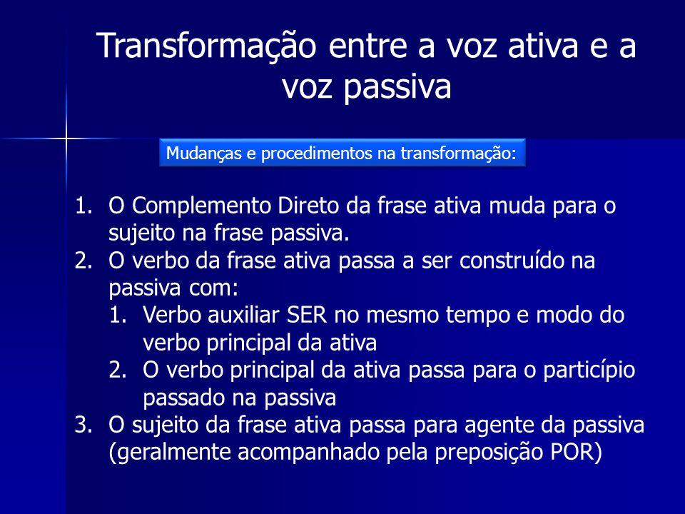 Transformação entre a voz ativa e a voz passiva