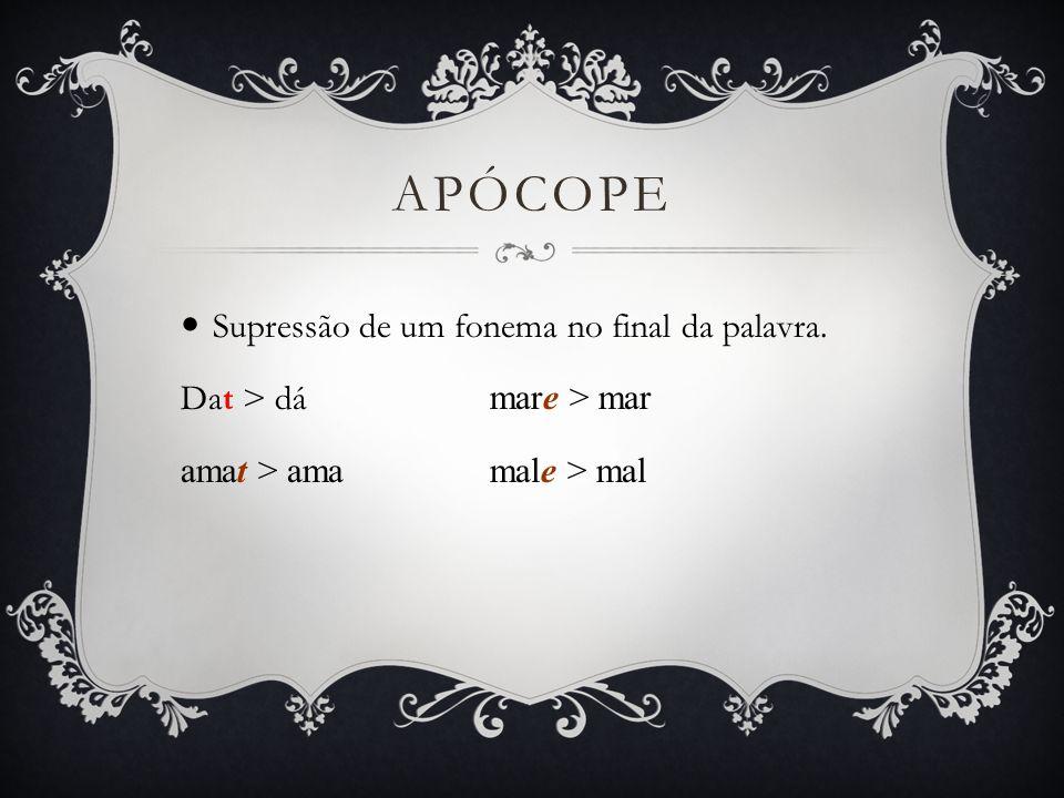Apócope Supressão de um fonema no final da palavra.