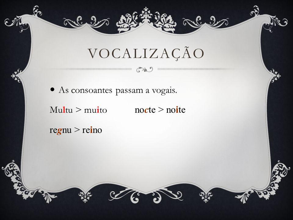 Vocalização As consoantes passam a vogais.