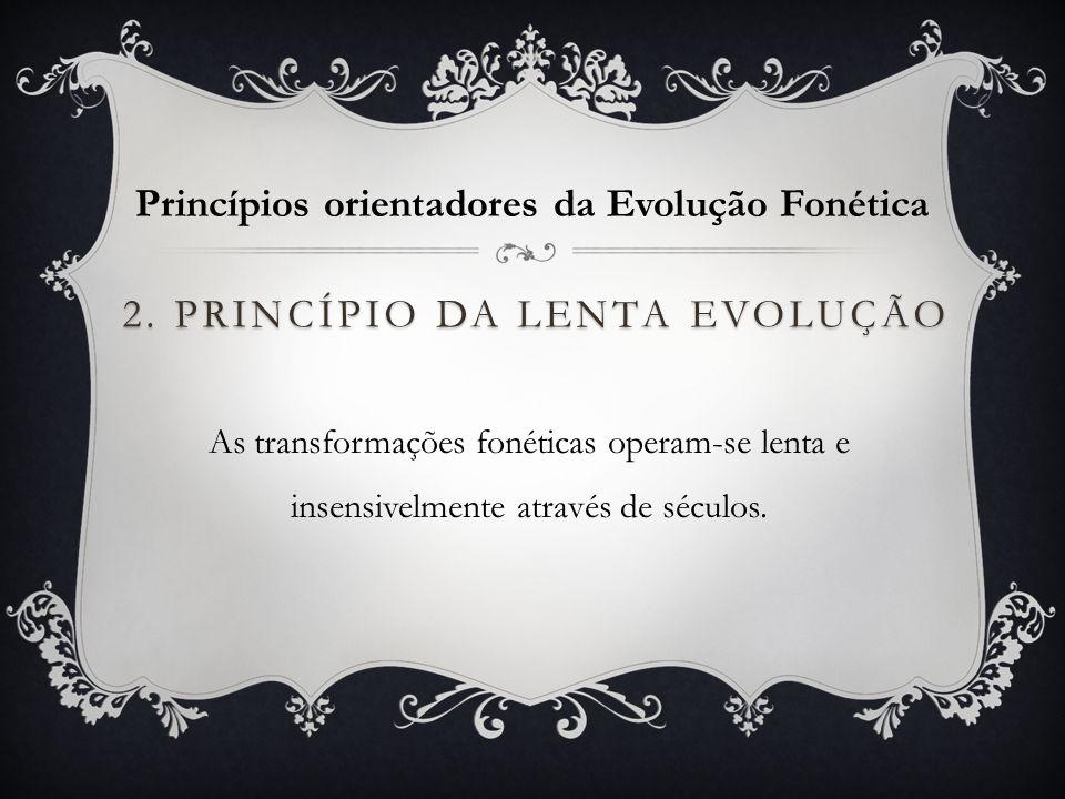 2. Princípio da lenta evolução