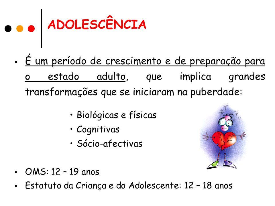 ADOLESCÊNCIA É um período de crescimento e de preparação para o estado adulto, que implica grandes transformações que se iniciaram na puberdade: