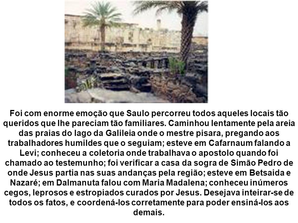 Foi com enorme emoção que Saulo percorreu todos aqueles locais tão queridos que lhe pareciam tão familiares.