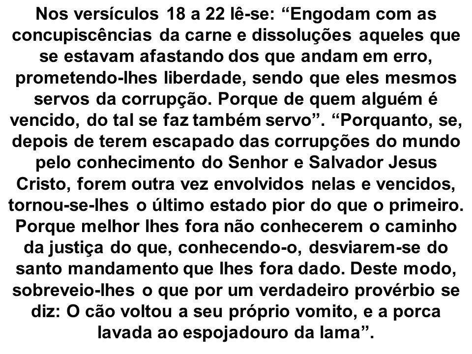 Nos versículos 18 a 22 lê-se: Engodam com as concupiscências da carne e dissoluções aqueles que se estavam afastando dos que andam em erro, prometendo-lhes liberdade, sendo que eles mesmos servos da corrupção.