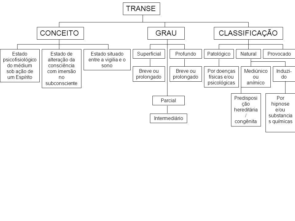 TRANSE CONCEITO GRAU CLASSIFICAÇÃO