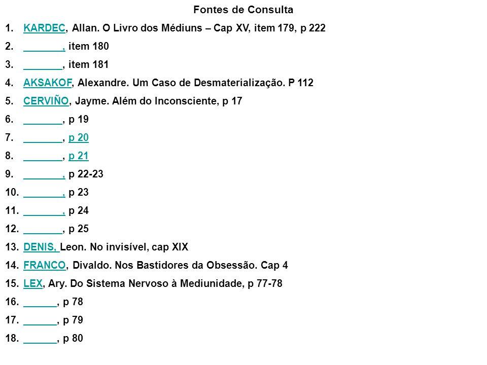 Fontes de Consulta KARDEC, Allan. O Livro dos Médiuns – Cap XV, item 179, p 222. _______, item 180.