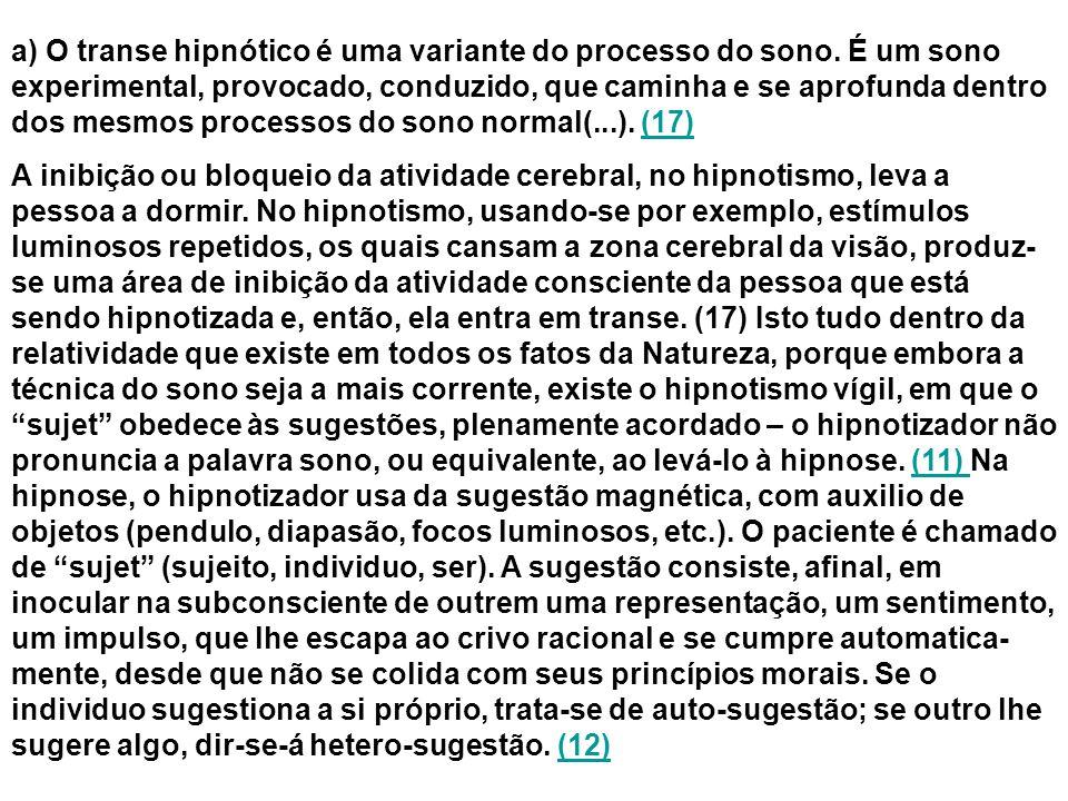 a) O transe hipnótico é uma variante do processo do sono