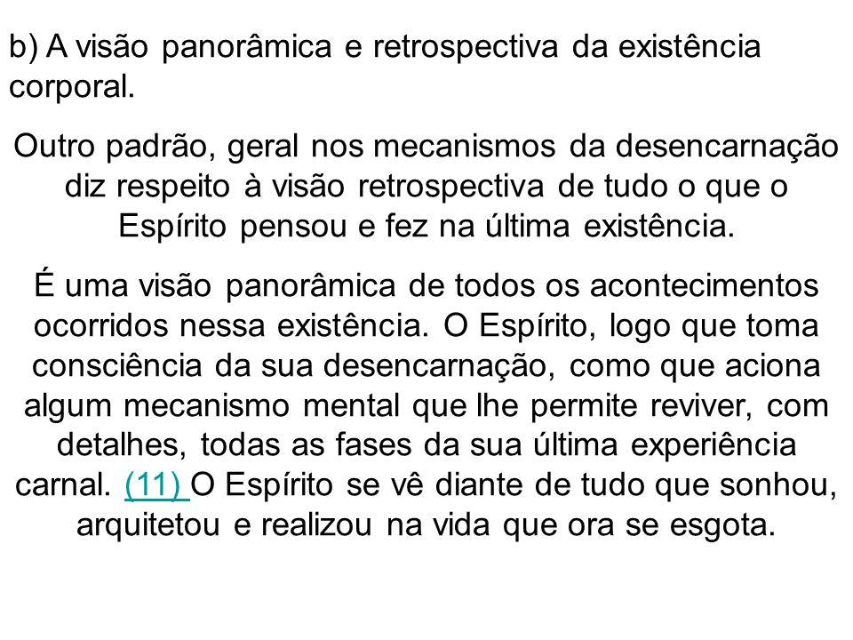 b) A visão panorâmica e retrospectiva da existência corporal.