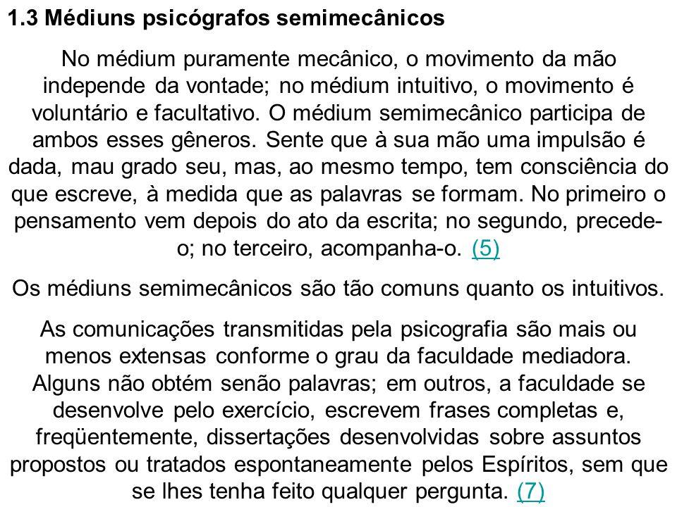 Os médiuns semimecânicos são tão comuns quanto os intuitivos.