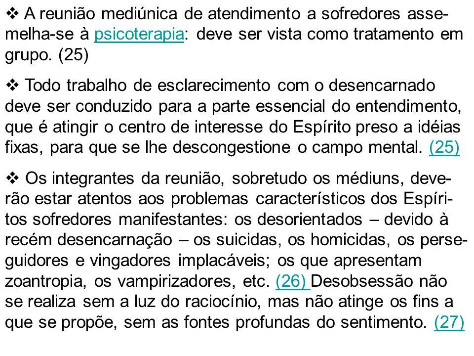 A reunião mediúnica de atendimento a sofredores asse-melha-se à psicoterapia: deve ser vista como tratamento em grupo. (25)