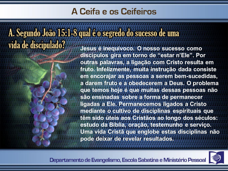 Jesus é inequívoco. O nosso sucesso como discípulos gira em torno de estar n'Ele .
