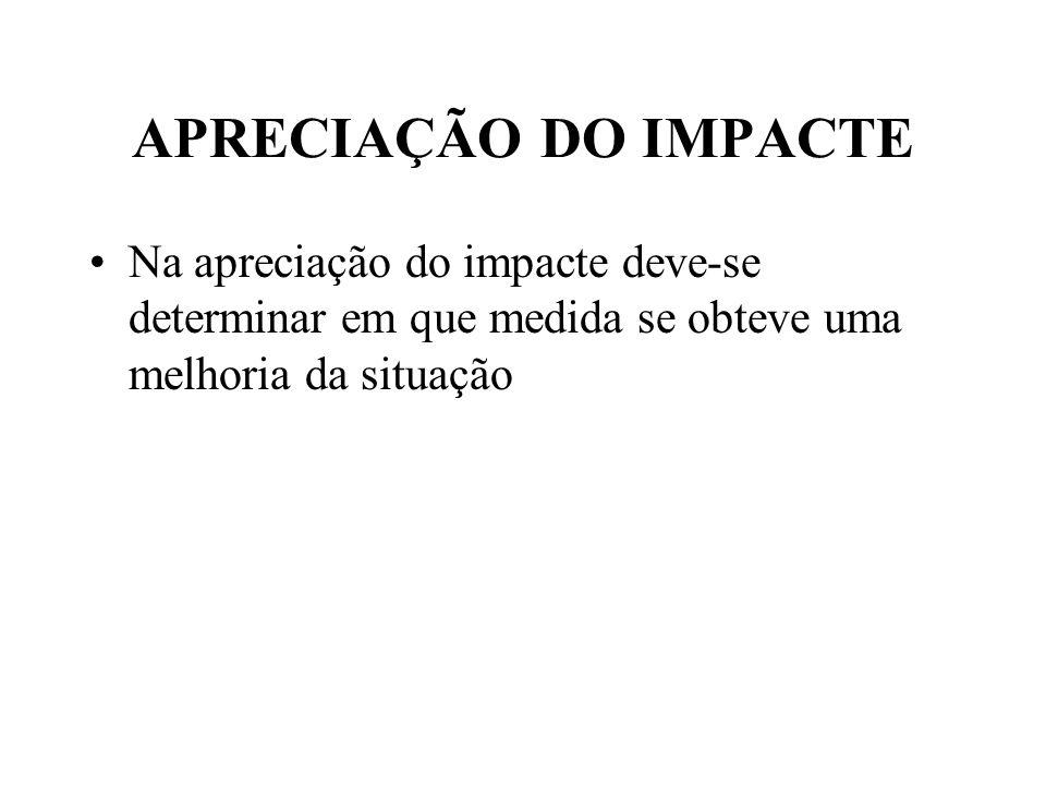 APRECIAÇÃO DO IMPACTE Na apreciação do impacte deve-se determinar em que medida se obteve uma melhoria da situação.