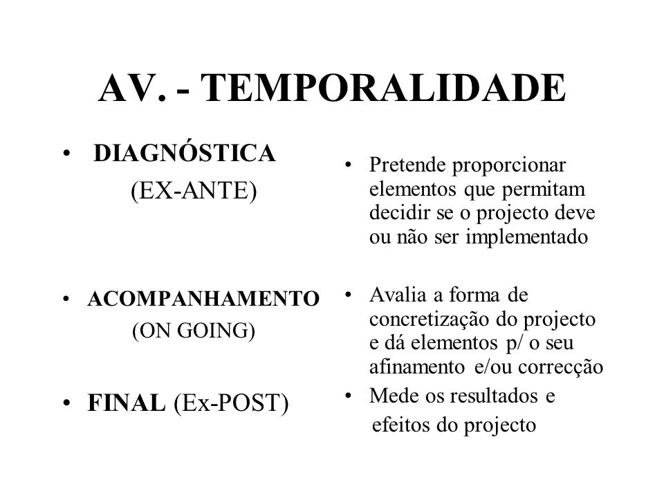 AV. - TEMPORALIDADE DIAGNÓSTICA (EX-ANTE) FINAL (Ex-POST)