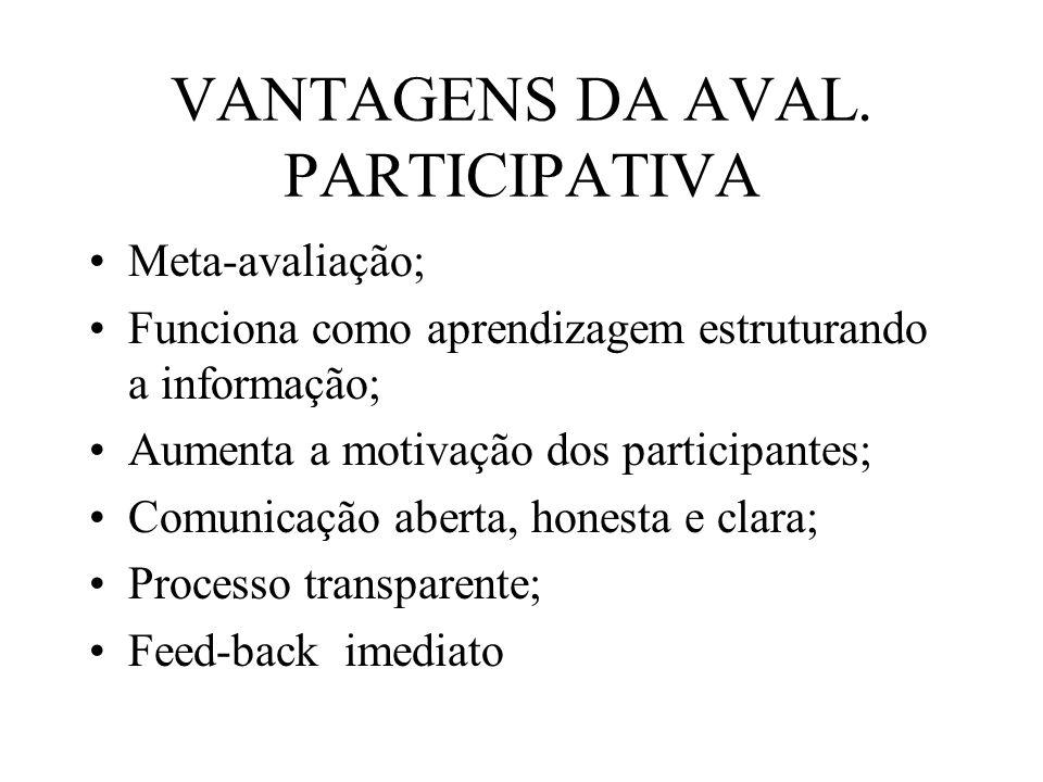 VANTAGENS DA AVAL. PARTICIPATIVA