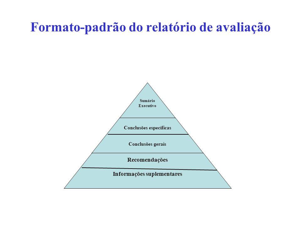 Formato-padrão do relatório de avaliação