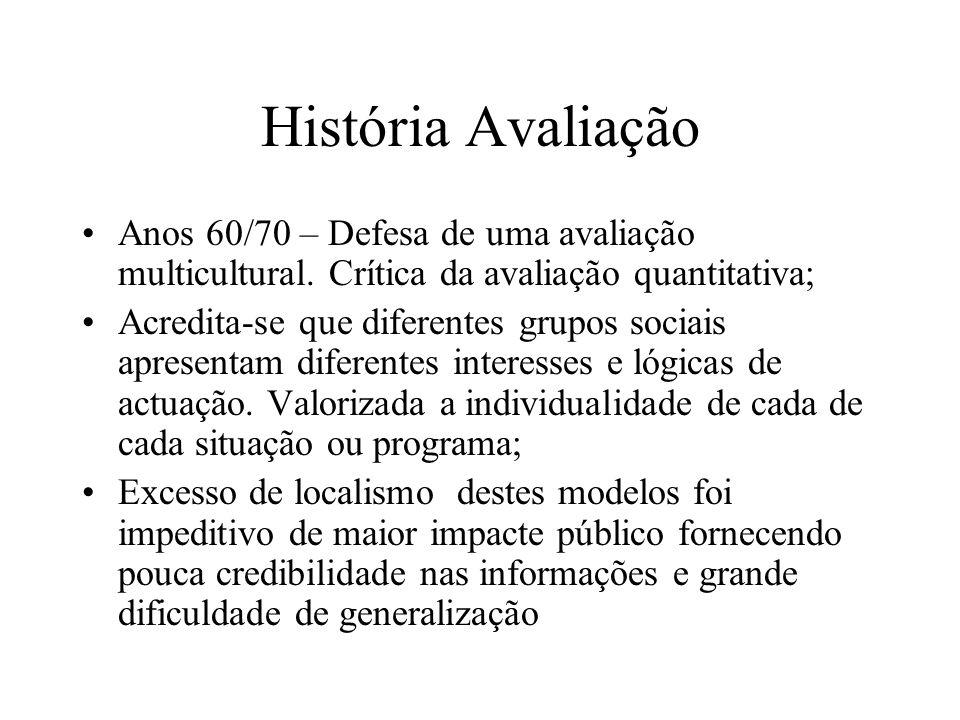 História Avaliação Anos 60/70 – Defesa de uma avaliação multicultural. Crítica da avaliação quantitativa;