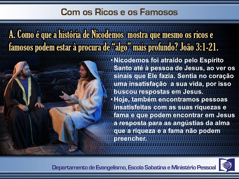 Nicodemos foi atraído pelo Espírito Santo até à pessoa de Jesus, ao ver os sinais que Ele fazia. Sentia no coração uma insatisfação a sua vida, por isso buscou respostas em Jesus.