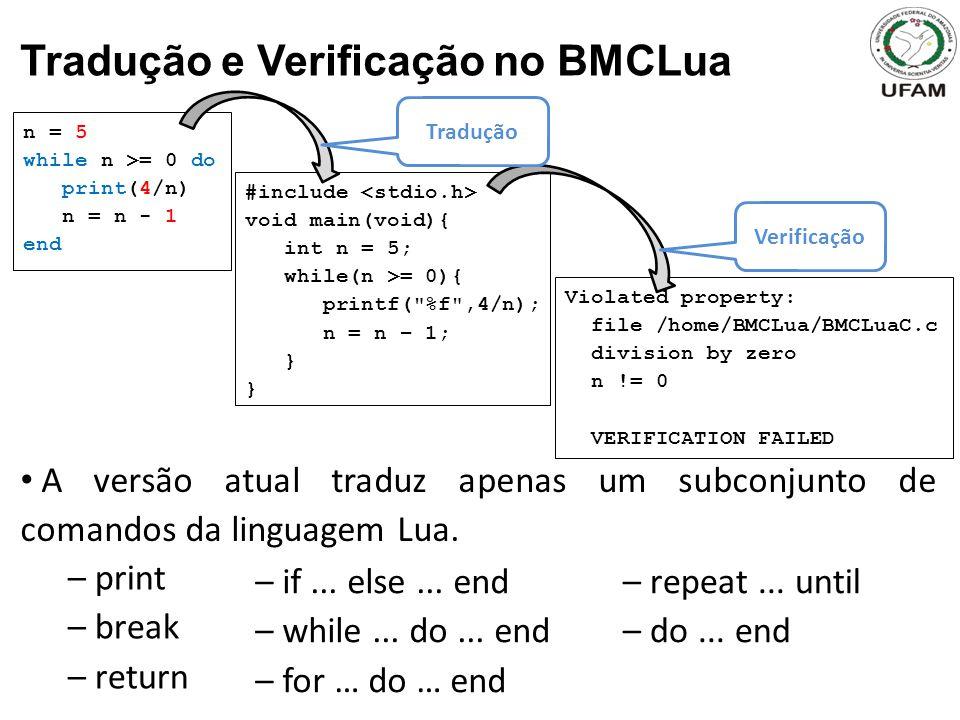 Tradução e Verificação no BMCLua