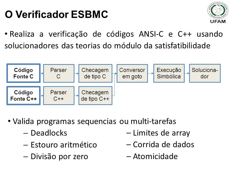O Verificador ESBMC Realiza a verificação de códigos ANSI-C e C++ usando solucionadores das teorias do módulo da satisfatibilidade.